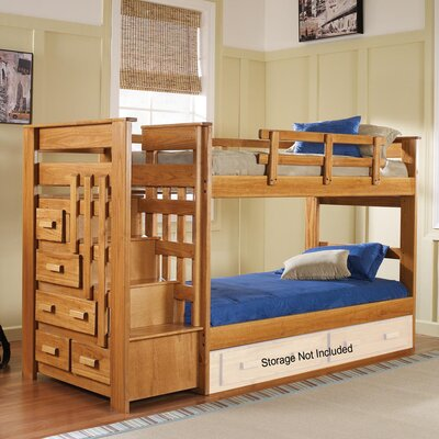 Chelsea Home Twin Over Twin Bunk Bed with Stairway