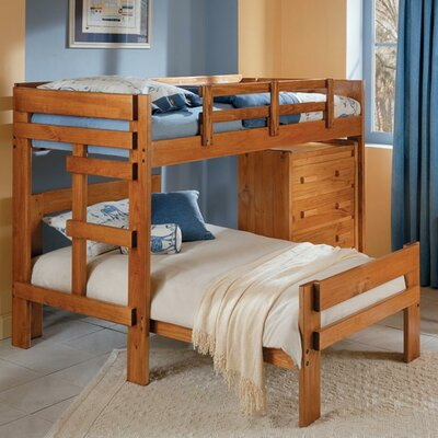 Chelsea Home Twin Over Twin L-Shaped Bunk Bed with 4 Drawer Chest
