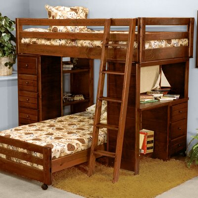 Chelsea Home Twin over Twin L-Shaped Bunk Bed wi..