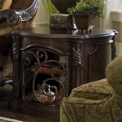 Michael Amini Essex Manor Barrel End Table in Deep English Tea