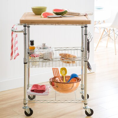 Trinity EcoStorage Kitchen Cart with Wood Top