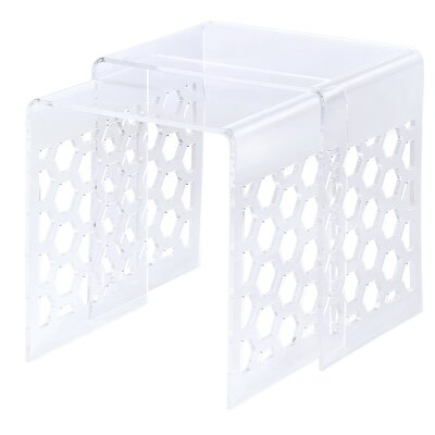 Fox Hill Trading 2 Piece Honeycomb Nesting Tables