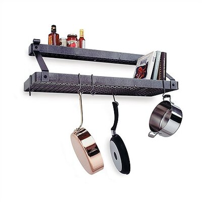 enclume premier deep bookshelf wall mounted pot rack with shelf reviews wayfair. Black Bedroom Furniture Sets. Home Design Ideas