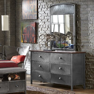 Hillsdale Furniture Urban Quarters 6 Drawer Double Dresser with Mirror