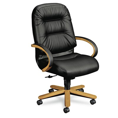 Basyx by HON Pillow-Soft Wood Series High-Back Leather Executive Chair