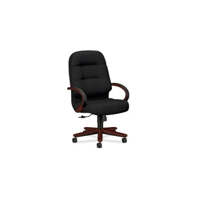 HON Pillow-Soft Wood Series Executive High-Back Chair, Mahogany