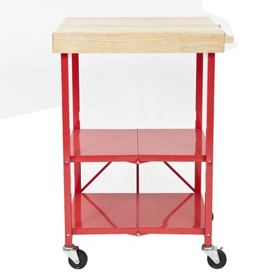 Origami Kitchen Cart with Wood Top