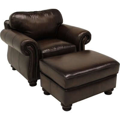 Bernhardt Vincent Leather Arm Chair and Ottoman