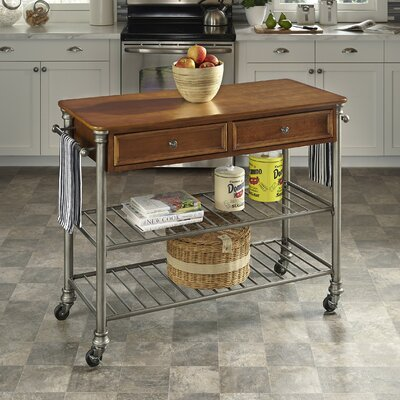 Red Barrel Studio Kibbe Kitchen Island with Wood Top