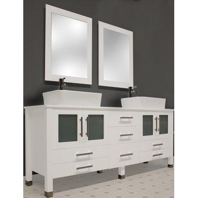 Cambridge Plumbing White Emerald 65 Double Bathroom Vanity Set With Mirror Reviews Wayfair