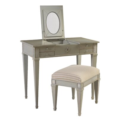 French Heritage Parc Saint-Germain Vanity Set with Mirror and Stool