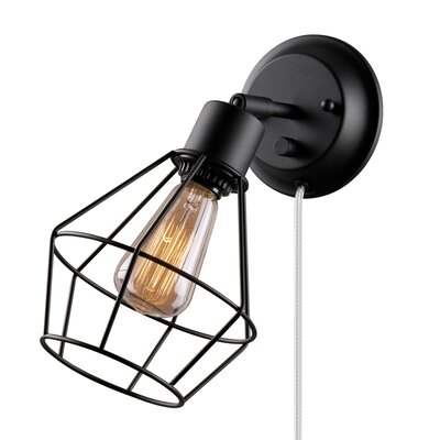Globe Electric Company Adison 1 Light Plug In Industrial Cage Wall Sconce with Hardwire ...