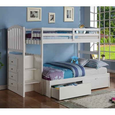 Donco Kids Arch Mission Stairway Bunk Bed with Storage Drawers