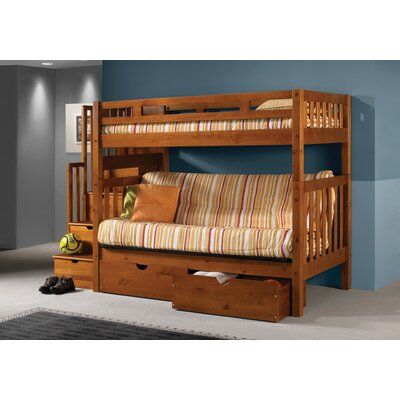 Donco Kids Stairway Loft Bunk Bed with Storage Drawers