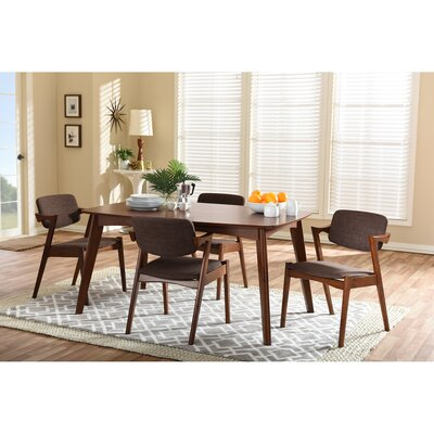 Wholesale Interiors Baxton Studio Elegant Dark Walnut Wood Brown Fabric Upholstered 5-piece Dining Set