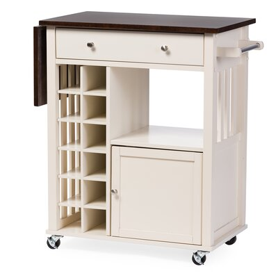 Wholesale Interiors Baxton Studio Justin Solid Wood Kitchen Cart with Dark Oak Drop Leaf Top and Built-in Wine Rack