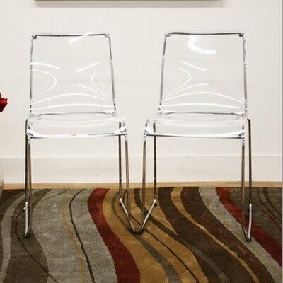 Wholesale Interiors Baxton Studio Lino Dining Chair in Transparent Clear (Set of 2) (Set of 2)