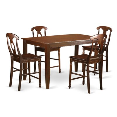 East West Furniture Dudley 5 Piece Counter Height Pub Table Set