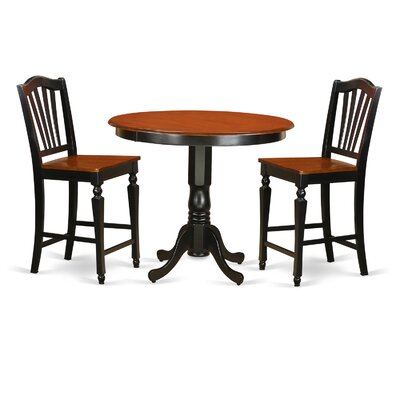 East West Furniture Trenton 3 Piece Counter Height Pub Table Set