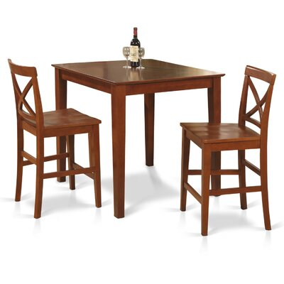 East West Furniture 3 Piece Counter Height Dining Set