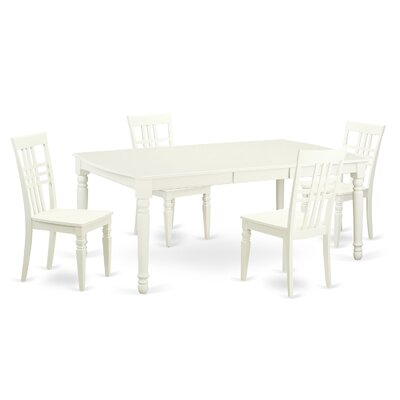 East West Furniture 5 Piece Dining Set in Linen White