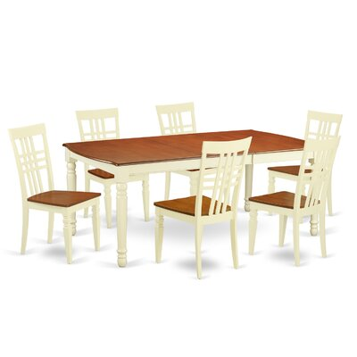 East West Furniture 7 Piece Dining Set in Buttermilk/Cherry