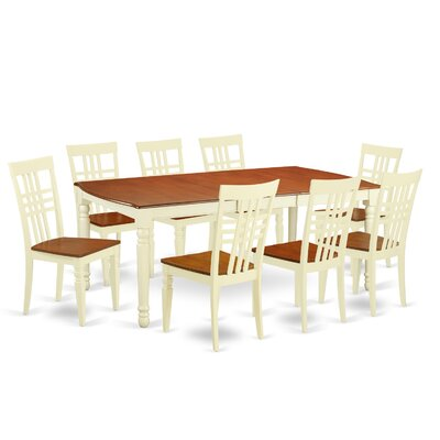 East West Furniture 9 Piece Dining Set in Buttermilk/Cherry