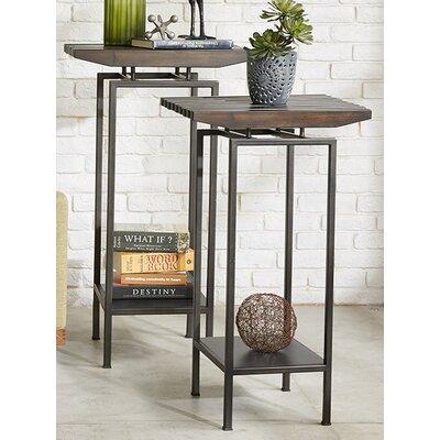INK+IVY Slat Pedestal End Table