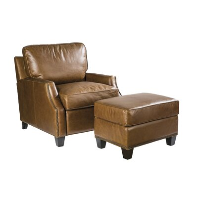 Palatial Furniture Anderson Leather Ottoman Image