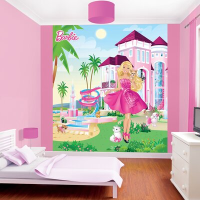 Walltastic barbie 39 s pink palace wall mural wayfair uk for Barbie wall mural