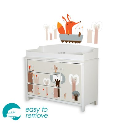 South Shore Cotton Candy Changing Table with Fox in the Forest Decals