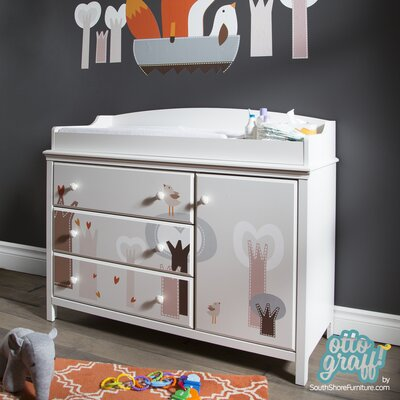 South Shore Cotton Candy Changing Table with Magical Forest Decals