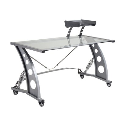 PitStop Furniture Racing Style Computer Desk with Glass Top and Glass Spoiler Shelf