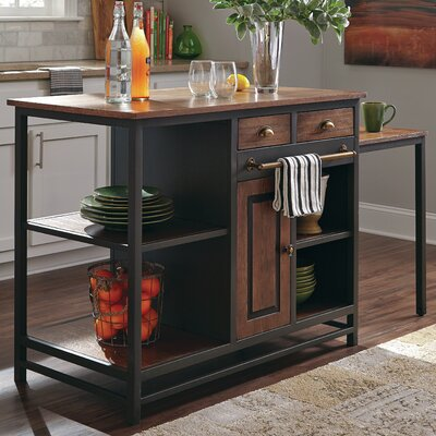 Donny Osmond Home Kitchen Island with Wood Top