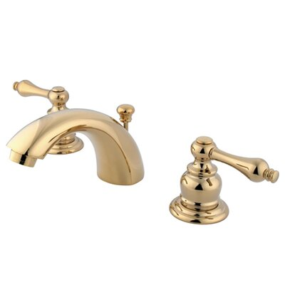 Kingston Brass Victorian Double Handle Widespread Mini Bathroom Faucet With Brass Pop Up Drain