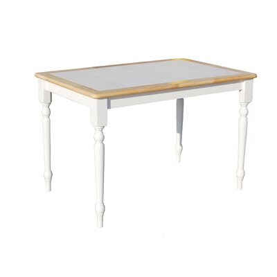 TMS Tara Tile Top Dining Table in White and Natural