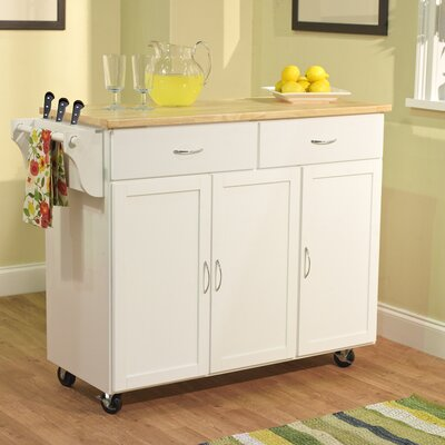 TMS Berkley Kitchen Island with Wood Top