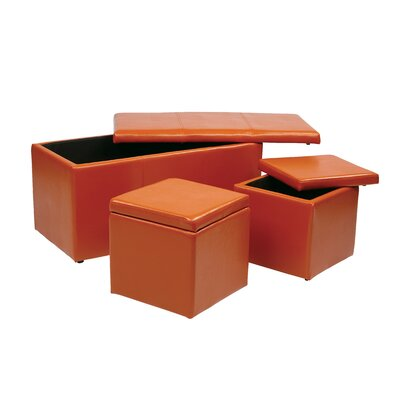 OSP Designs 3 Piece Storage Ottoman Set