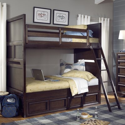 LC Kids Benchmark Twin over Twin Standard Bunk Bed with Underbed Storage Drawer