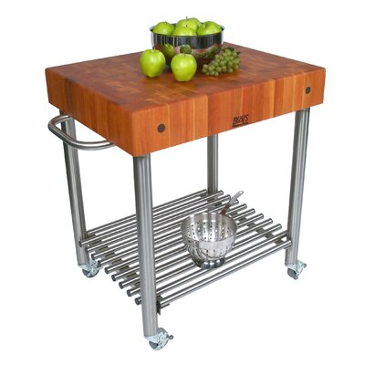 John Boos Cucina Americana Kitchen Cart with Butcher Block Top