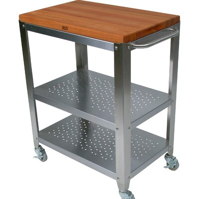 John Boos Cucina Americana Culinarte Kitchen Cart with Wood Top
