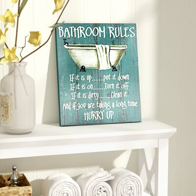 Bathroom Rules august grove bathroom rules textual art & reviews | wayfair