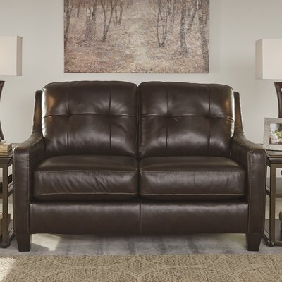 Red Barrel Studio Stouffer Genuine Leather Mahogany Loveseat