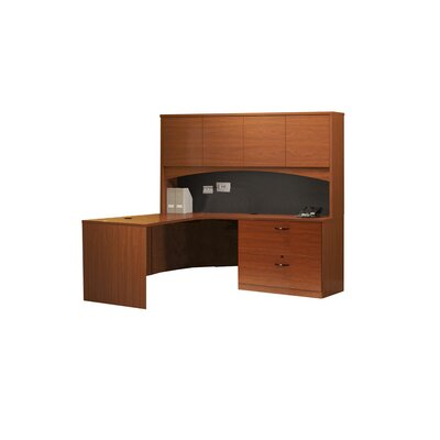 Mayline Group Brighton Series L-Shape Exec/Comp Desk with Hutch