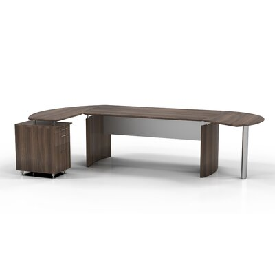Mayline Group Medit Computer Desk with Curved Return with Pencil / Box / File Pedestal and Center Drawer