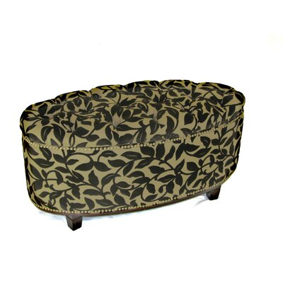 4D Concepts Ora Oval Ottoman Bench in Brown Flock Image