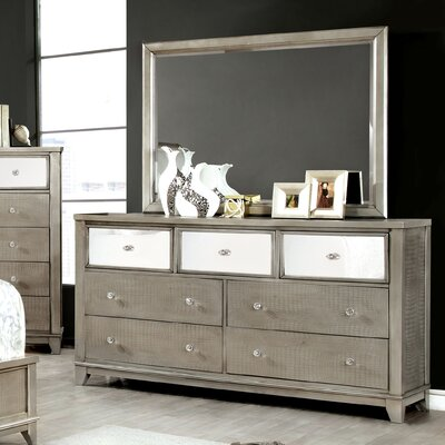 House of Hampton 7 Drawer Dresser with Mirror