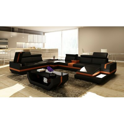 Hokku Designs Trafalgar 5 Piece Modern Leather Sectional