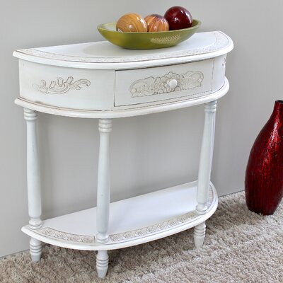 International Caravan Windsor 2-Tier Antique White Wood Console Table