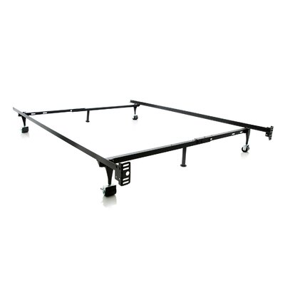 Malouf Heavy Duty 6-Leg Adjustable Metal Bed Frame with Rug Roller